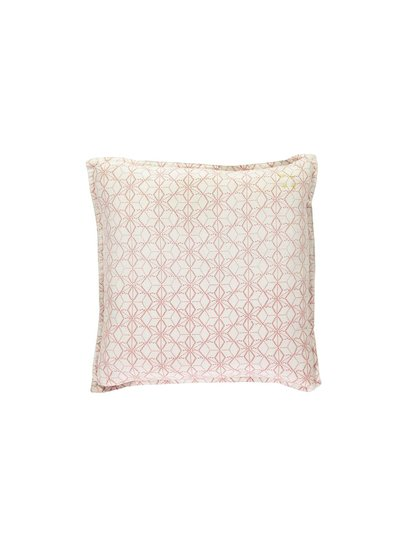 Camomile London Square Check Padded Cushion - Dash Star Rose/Ivory