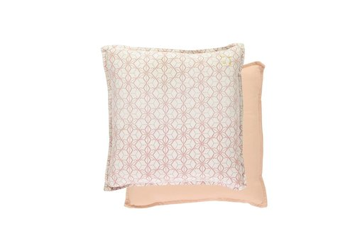 Camomile London Square Check Padded Cushion - Dash Star Rose/Ivory