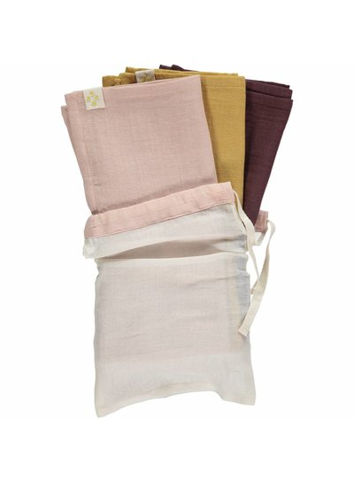 Camomile London Small Soft Cotton Gauze Towels (3 In A Bag) - 3 In A Bag Golden/Pink/Wine