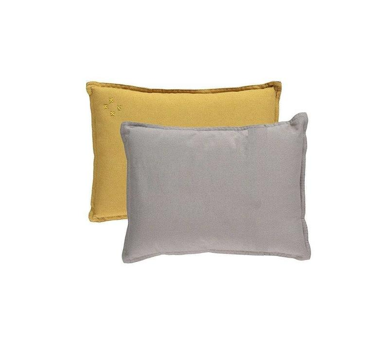 Small Printed And Solid Two Tone - Padded Cushion - Two Tone Golden/Warm Grey