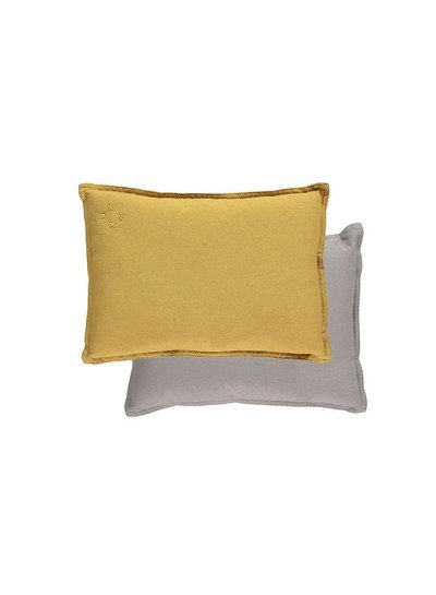 Camomile London Small Printed And Solid Two Tone - Padded Cushion - Two Tone Golden/Warm Grey
