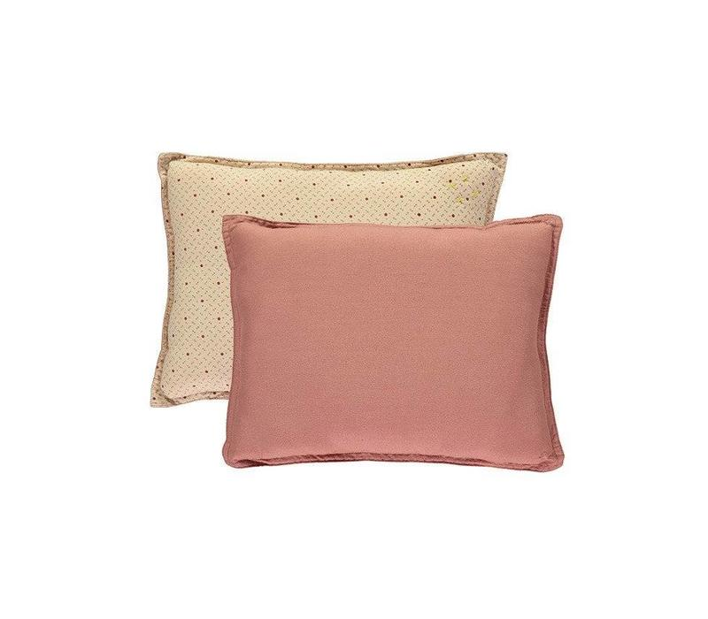 Small Printed And Solid Two Tone - Padded Cushion - Keiko Peach Puff/Rose