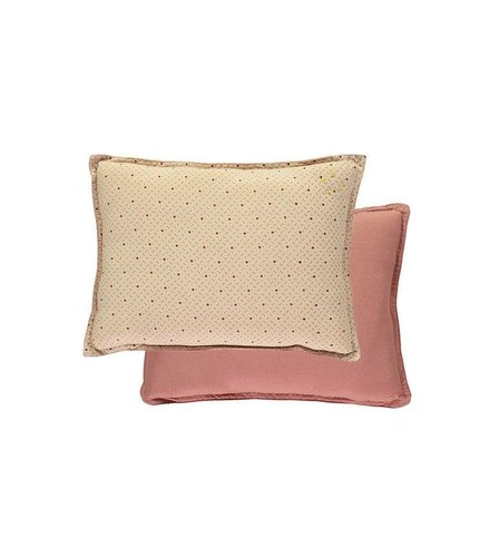 Camomile London Small Printed And Solid Two Tone - Padded Cushion - Keiko Peach Puff/Rose
