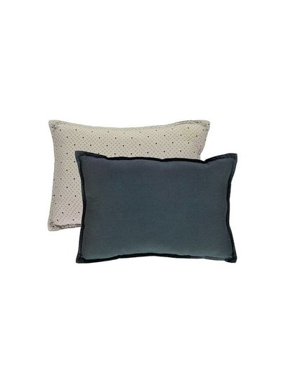 Camomile London Small Printed And Solid Two Tone - Padded Cushion - Keiko Soft Grey/French Blue