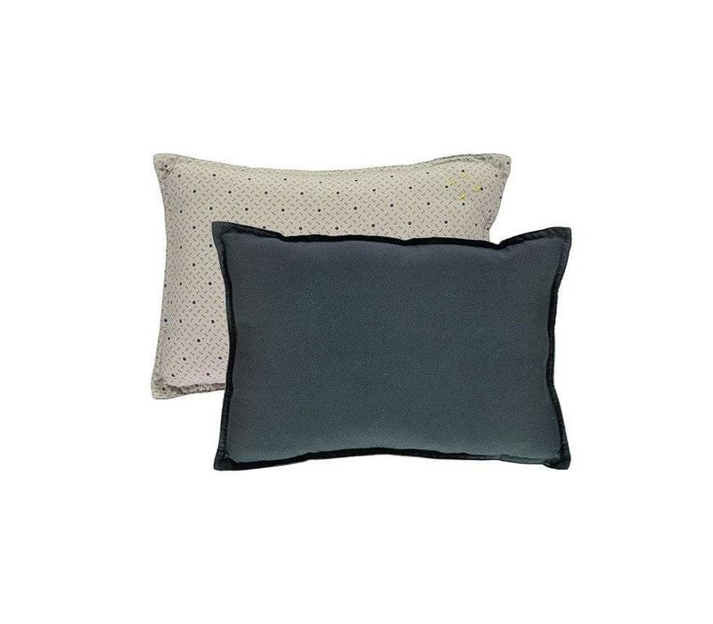 Small Printed And Solid Two Tone - Padded Cushion - Keiko Soft Grey/French Blue