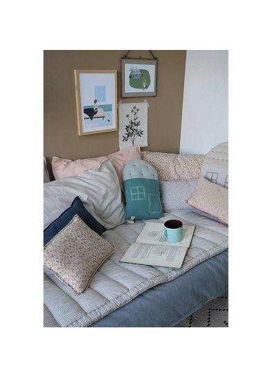 Camomile London Small House Cushion In Bag - Windows Mink Teal/Aqua
