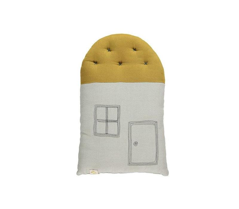 Small House Cushion In Bag - Windows /Door Charcoal Aqua/Golden