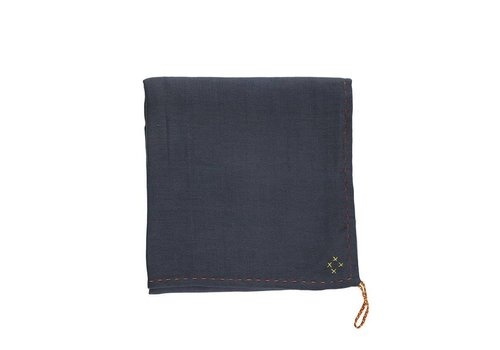 Camomile London Single Layer Soft Cotton Gauze Swaddle - Hand Embroidered - Embroidery Golden Blue Grey