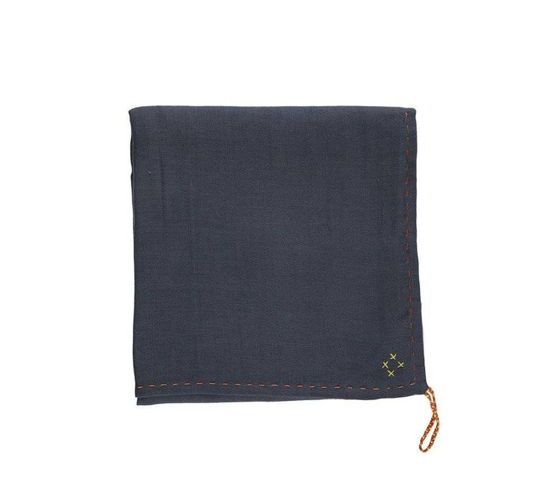 Single Layer Soft Cotton Gauze Swaddle - Hand Embroidered - Embroidery Golden Blue Grey
