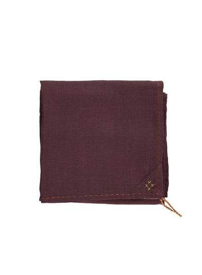 Camomile London Single Layer Soft Cotton Gauze Swaddle - Hand Embroidered - Embroidery Brick Wine