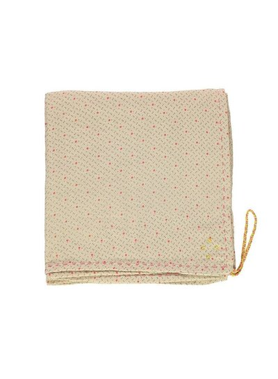 Camomile London Single Layer Cotton Gauze Swaddle - Hand Embroidered - Keiko Natural With Pink/Grey Print