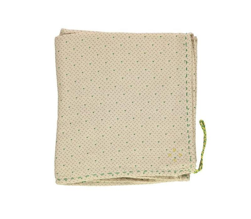 Single Layer Cotton Gauze Swaddle - Hand Embroidered - Keiko Natural With Green/Grey Print