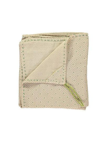 Camomile London Single Layer Cotton Gauze Swaddle - Hand Embroidered - Keiko Natural With Green/Grey Print
