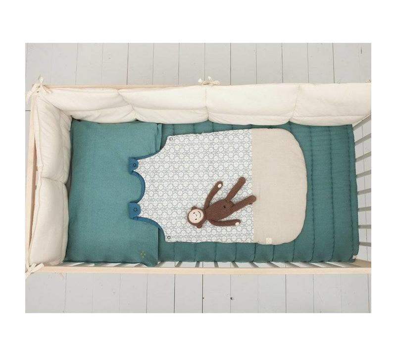 Hand Quilted Blanket - Embroidery Teal Teal