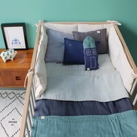 Hand Quilted Blanket - Embroidery Teal Aqua