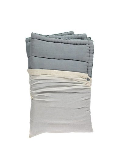 Camomile London Hand Quilted Blanket - Embroidery Green Chambray Blue