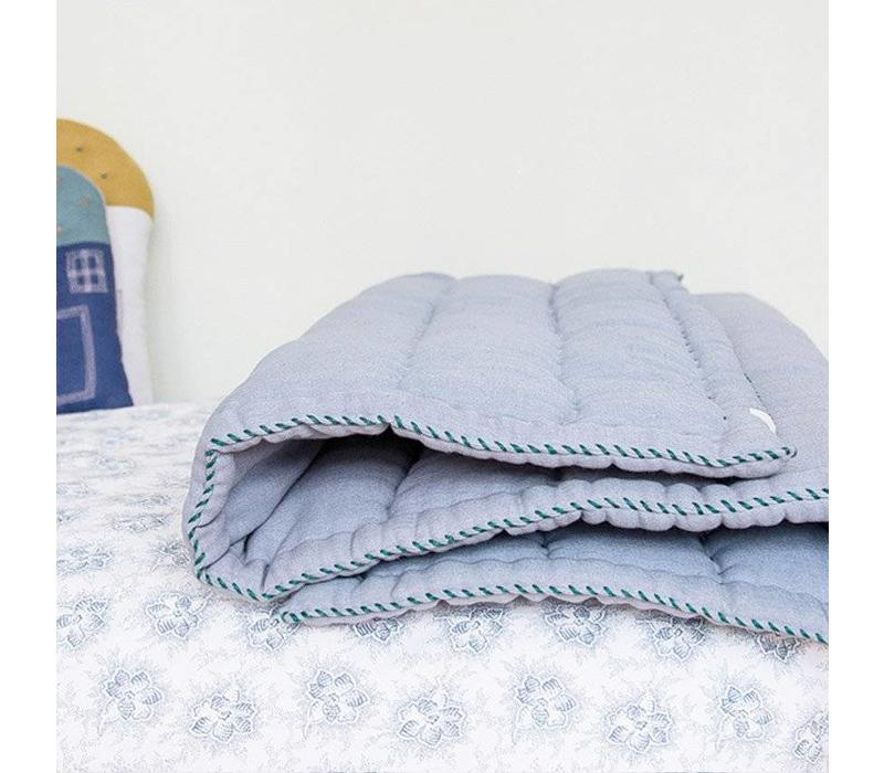 Hand Quilted Blanket - Embroidery Green Chambray Blue