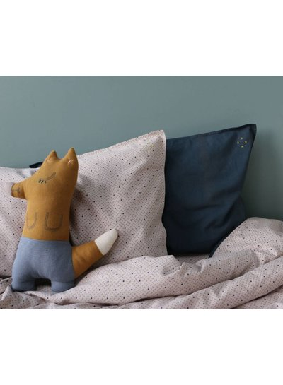Camomile London Foxy Cushion In Bag - Cross Stitch Aqua New Golden Body - Chambray Check Trousers