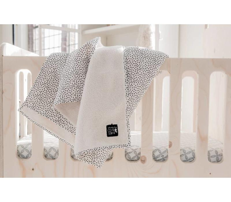 Baby soft teddy blanket cozy dots offwhite