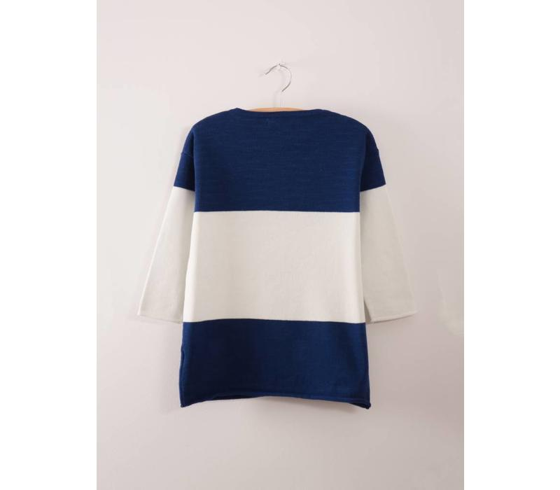 Bicolour Knitted Dress Nautical Blue