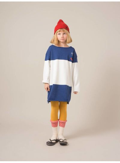 BOBO CHOSES Bicolour Knitted Dress Nautical Blue