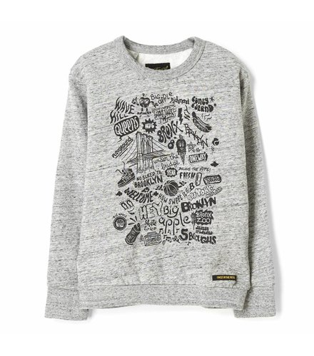 Finger in the nose Brian heather grey brooklyn-boy knitted crew neck sweatshirt
