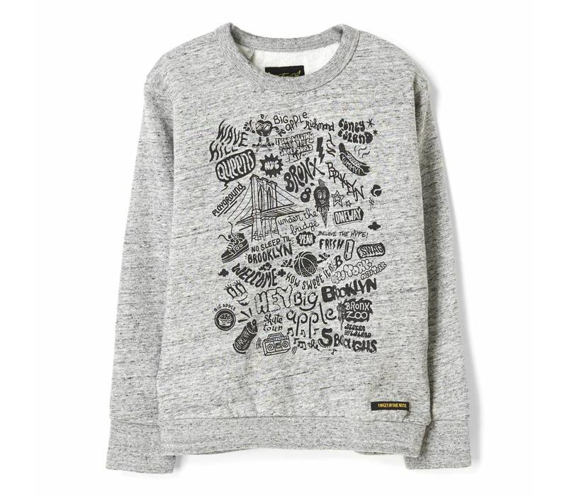 Brian heather grey brooklyn-boy knitted crew neck sweatshirt