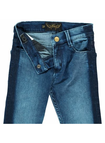 Finger in the nose Tama blue denim smocking-girl woven skinny fit jeans