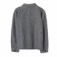 Yella black denim fringes-girl woven loose fit shirt