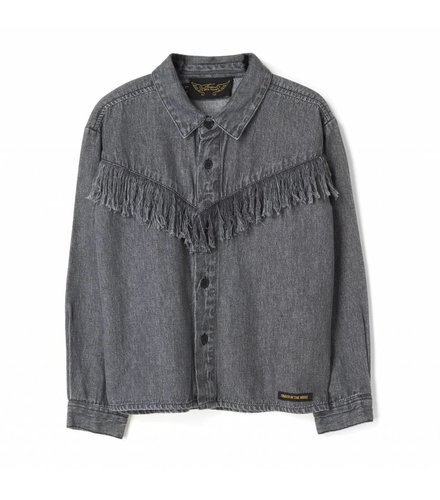 Finger in the nose Yella black denim fringes-girl woven loose fit shirt