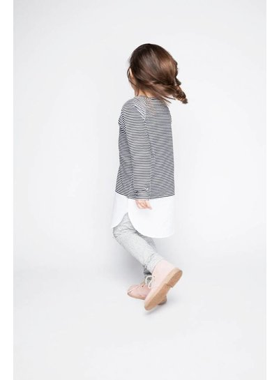 MINGO Combi Dress B/W Stripes/White