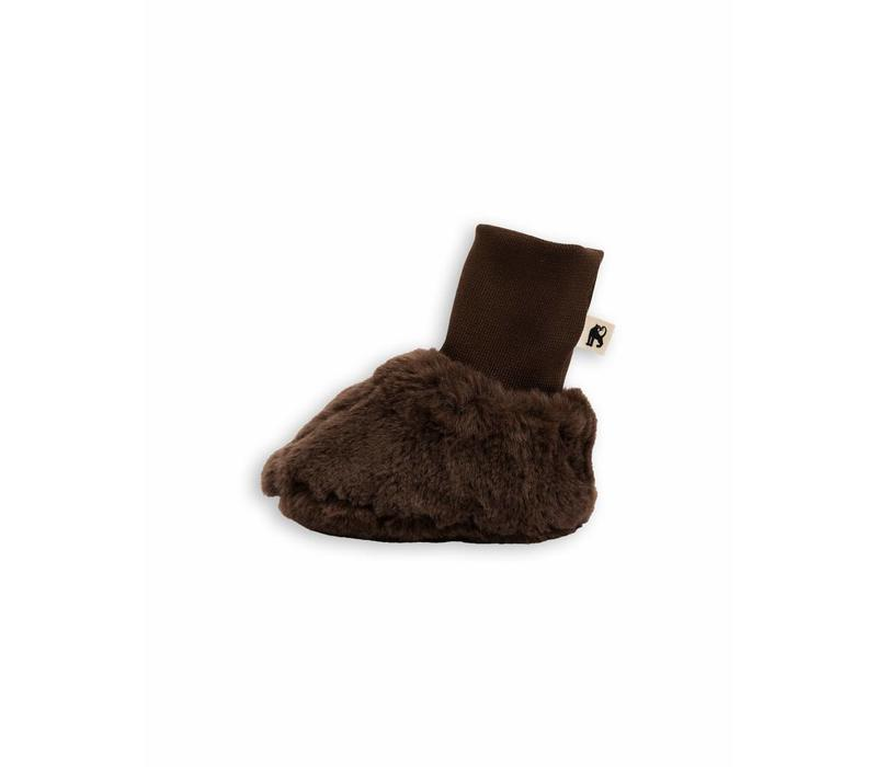 Faux Fur Baby Boot Brown