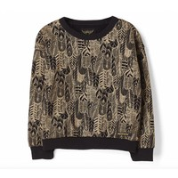 Turner black feathers-girl knitted oversized sweatshirt
