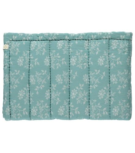 Camomile London Hand Quilted Blanket In A Bag Hanako Floral Light Teal