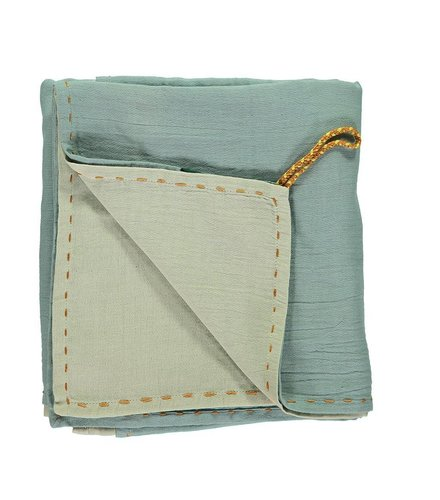 Camomile London Double Layer - Swaddle - Hand Embroidered Golden Light Teal/Mint