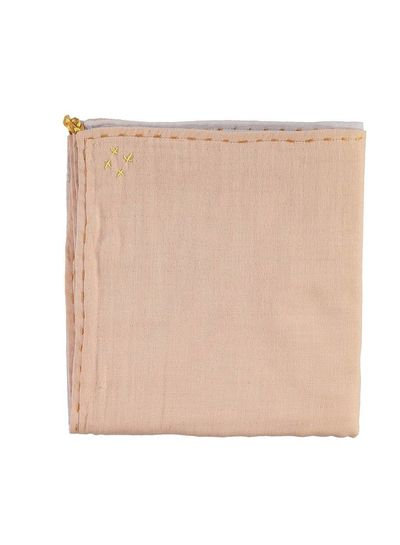 Camomile London Double Layer - Swaddle - Hand Embroidered Golden Blush/Pearl Pink