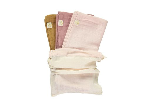 Camomile London Small Soft Cotton Gauze Towels Multi Pack Blush/Ochre/Pearl Pink