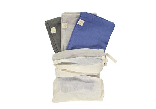 Camomile London Small Soft Cotton Gauze Towels Multi Pack Royal/Ash Grey/Slate