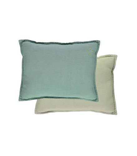 Camomile London Two Tone Reversible Small Cushion Two Tone Light Teal/Mint