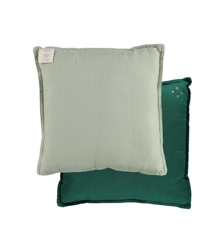 Camomile London Two Tone Reversible Square Cushions Two Tone Forest/Mint