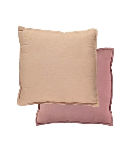 Camomile London Two Tone Reversible Square Cushions Two Tone Blush/Peach Blossom