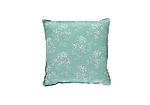 Camomile London Check And Printed Cushions Hanako Floral Light Teal
