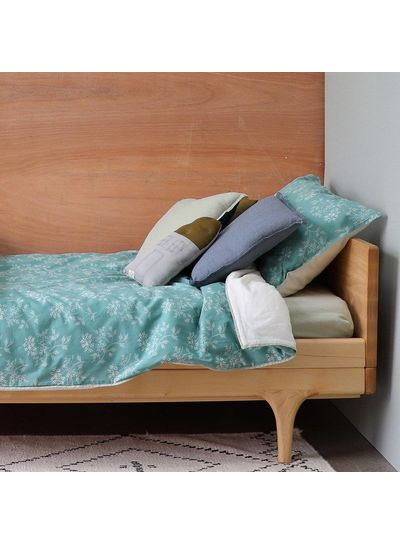 Camomile London Check And Printed Cushions Mini Check Blue