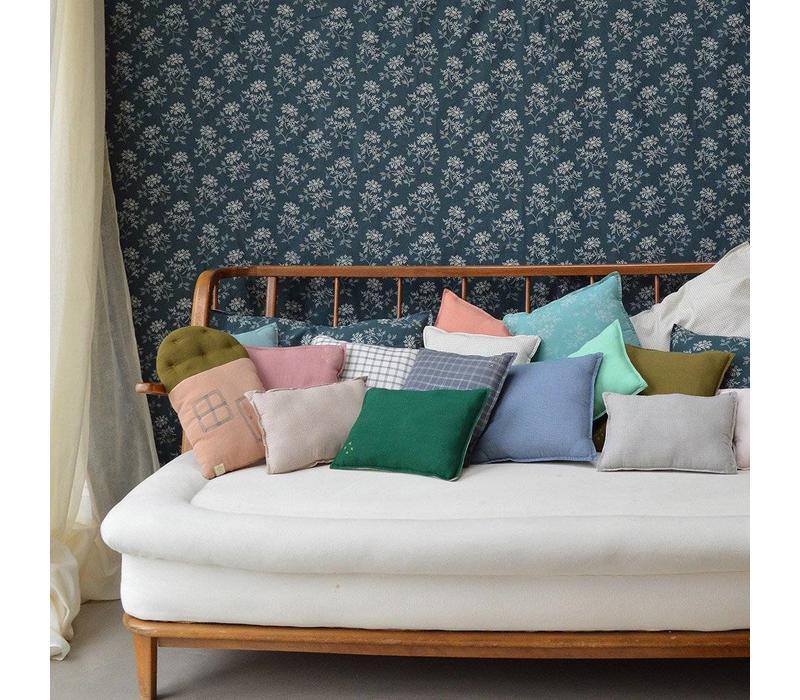 Check And Printed Cushions Mini Check Blue
