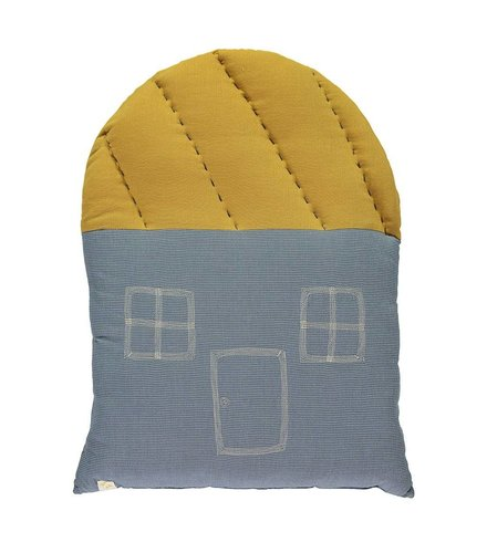 Camomile London Large House Mini Check  - Blue Mini Check/ Ochre
