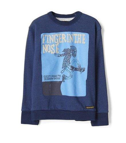Finger in the nose Brian dark indigo folk skate-boy knitted crew neck sweatshirt