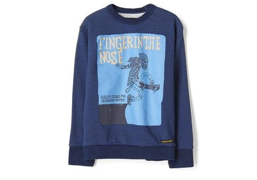 Finger in the nose Brian dark indigo folk skate-boy knitted crew neck sweatshirt