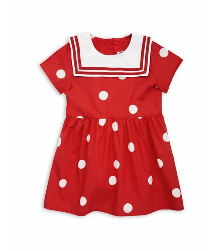 Mini Rodini Dot woven sailor dress Red