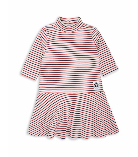 Mini Rodini Stripe rib dance dress Off white