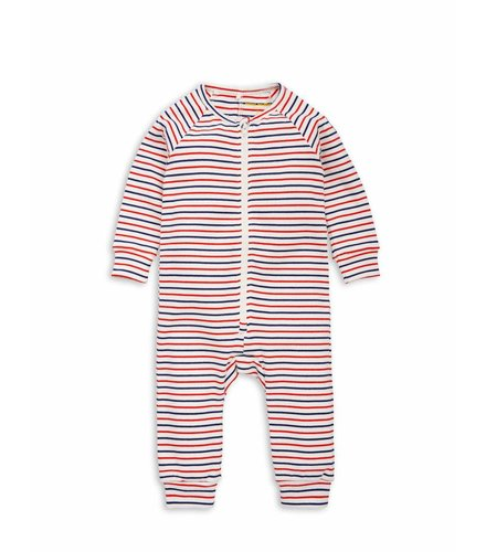 Mini Rodini Stripe rib jumpsuit Off white